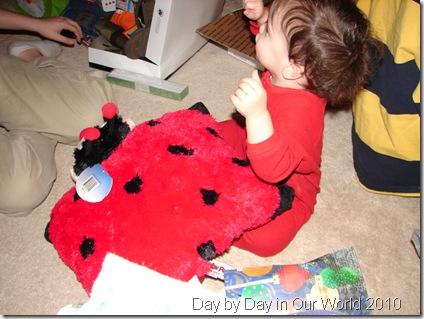 J holds Ladybug pillow pet