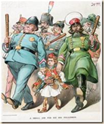 Karikatura që satirizon Fuqitë e Mëdha (policët) dhe shteti i ri grek (fëmiju shqiptar me fustanellë)