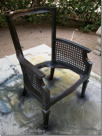 cane chair after painting