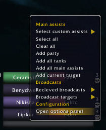 targetAssist context menu