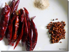 rechillies,asafetida and fenugreek seed(fried)