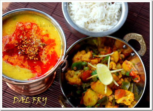 Dal fry with aloo gobi mutter subzi and rice