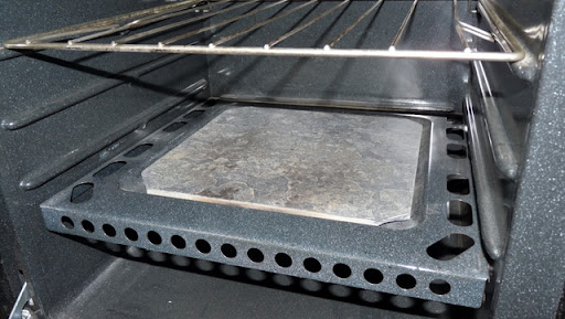 3/8-inch slate floor tile smooths our oven temperature nicely