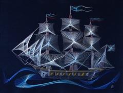 Вышивка нитками по картону корабль