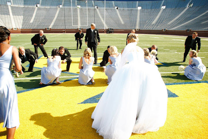 Wedding ceremony on the 50 yard line in Ann Arbor, MI at the Big House