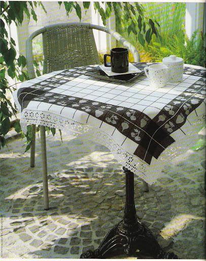مفارش من قماش والحواف كروشية مفارش كروشية بالبترون الكروشية مع