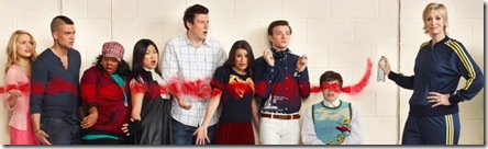 GLEE: New Direction returns on GLEE Premiering Tuesday, April 13 (9:30 PM-10:30 PM ET/PT) following an expanded episode of AMERICAN IDOL on FOX. Pictured L-R Dianna Agron, Mark Salling, Amber Riley, Jenna Ushkowitz, Cory Monteith, Lea Michele, Chris Colfer, Kevin McHale, Jane Lynch, Jayma Mays, Matthew Morrison and Jessalyn Gilsig. ©2010 Fox Broadcasting Co. CR: Patrick Ecclesine/FOX