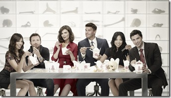 BONES: L-R: Michaela Conlin, TJ Thyne, Emily Deschanel, David Boreanaz, Tamara Taylor and  John Francis Daley. The sixth season of BONES premieres Thursday, Sept. 23 (8:00-9:00 PM ET/PT) on FOX. ©2010 Fox Broadcasting Co. Cr: Brian Bowen Smith/FOX
