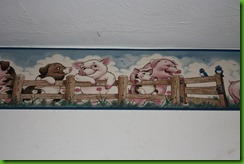 pigs, wallpaper border, kitchen