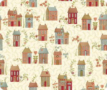 My Houses on fabric
