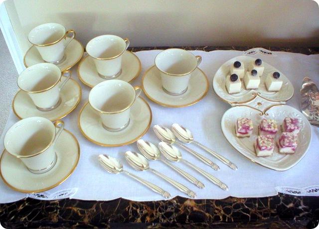 Riverton book review, tea cups & food