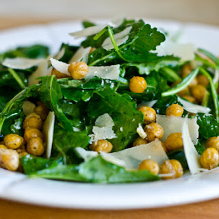 Baby Kale Salad with Lemon, Parmesan & Crispy Roasted Chickpeas