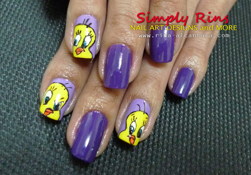 Tweety nail art