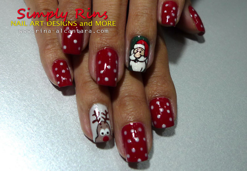 Christmas nail art santa and rudolph
