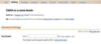 Blogger.com: Advanced settings