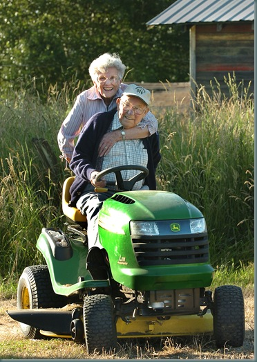 Matt can't walk a long distance so he rides around his property on his John Deere riding mower.  His wife Grace is with him.     Matt and Grace Manley  celebrated their 72nd. anniv. on Friday.  They are 92 and 91, and still live in the house they built 71 years ago.  Better still, all of their children still live within a mile of them.  They are having a barbecue at 5:00pm.