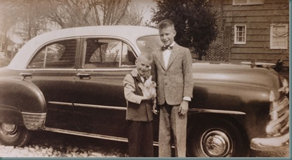 (Photo I.D. left to right:  Rick holding onto a rabbit and his brother Jerry  posing for a Easter picture as they were standing infront of their families 1951 Chev.    Matt and Grace's family photos for Kits Merryman's THE NEWS TRIBUNE web site presentation.   (Russ Carmack/The News Tribune)