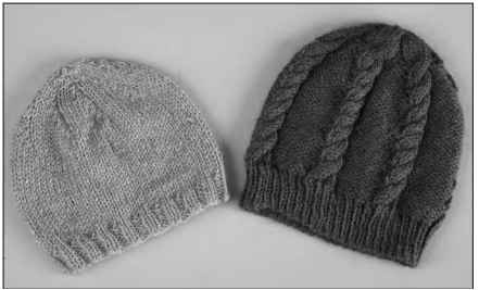A basic beanie and its cabled cousin.