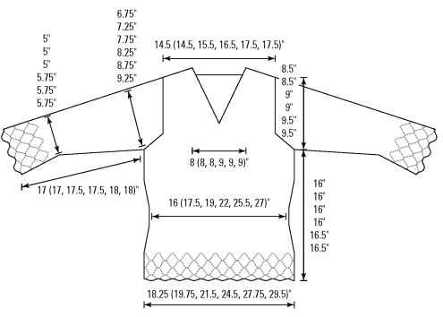 The dimensions and shaping of the full-length top.