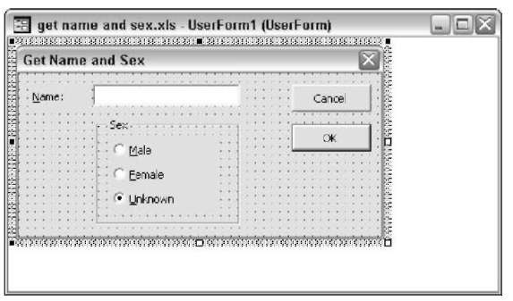 This dialog box asks the user to enter a name and a sex.