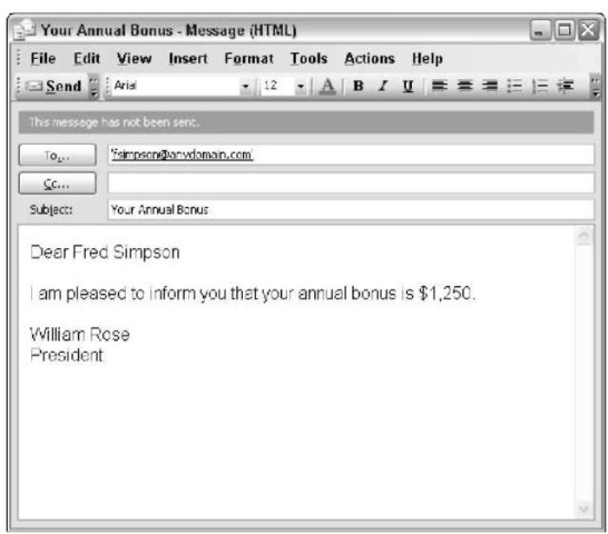 Create a personalized e-mail by using Excel.