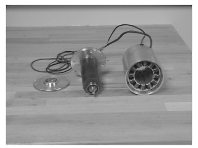 Rotor and stator of a three-phase, 1-hp BLDC motor.