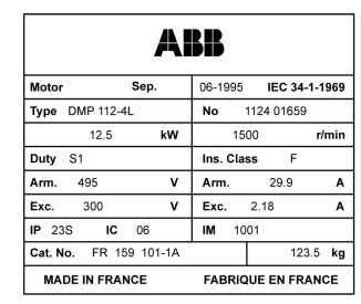 DC motor nameplate