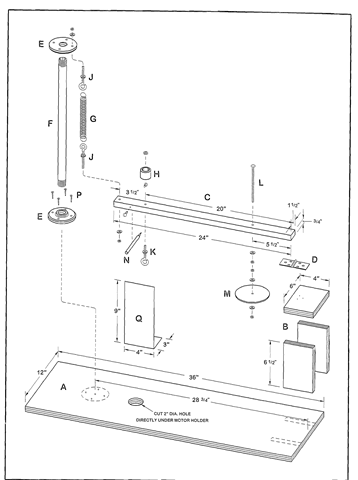An exploded view of the test stand's components. The capital letters in this drawing refer to the capital letters in the materials list on page 472.