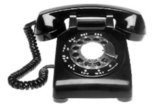 Rotary-dial telephone. (Image Club Graphics)