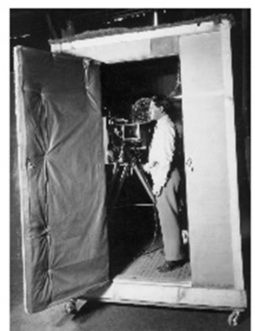 In the early days of sound films, cameras had to be soundproofed so their operating noises would not be picked up by the primitive sound-recording equipment. (Library of Congress)