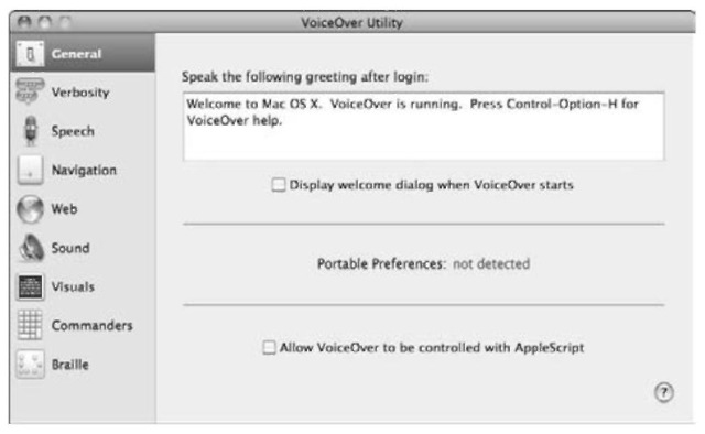 You can customize the VoiceOver audible feedback with the VoiceOver Utility.