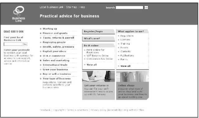 DTI home page for small businesses.