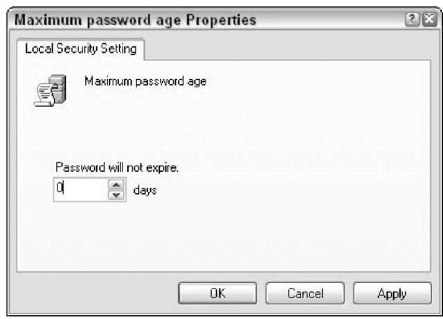 Set the time limit for passwords here.