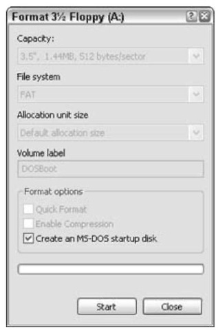 Creating an MS-DOS startup disk.