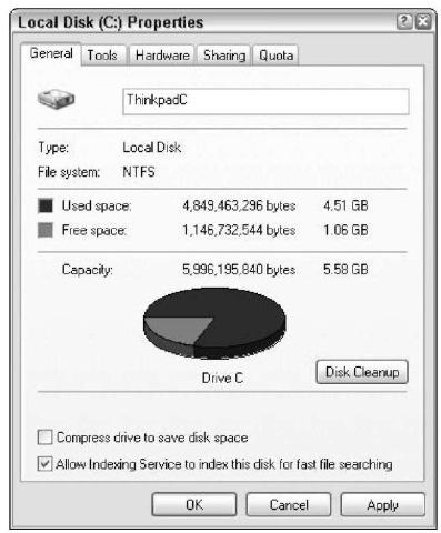A hard drive's properties.