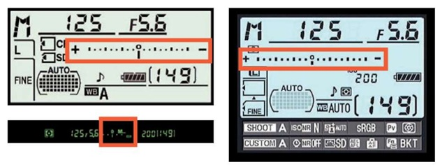 You can view the exposure meter in the Information display and Control panel.