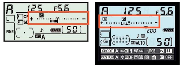 The plus/minus symbol tells you that Exposure Compensation is being applied.