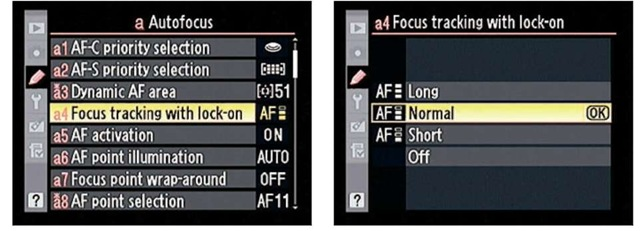 This option controls how the autofocus system deals with objects that come between it and the subject after you initiate focusing.