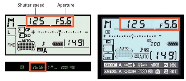 You can monitor aperture and shutter speed settings in three places.