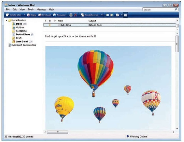 Keep e-mail pictures to no larger than 640 pixels wide or tall.