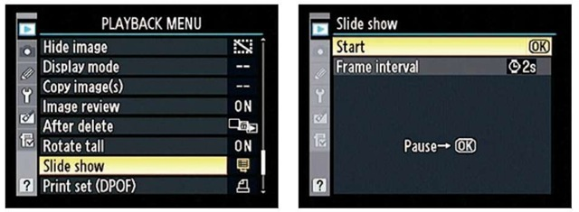 Choose Slide Show to set up automatic playback of all pictures on your memory card.