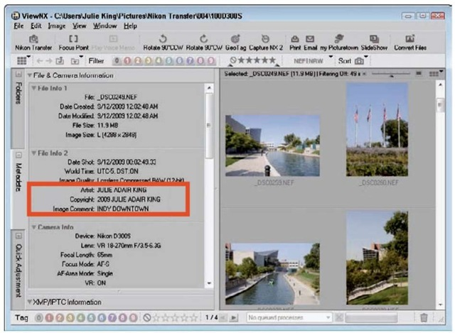 Comments appear with other metadata in Nikon ViewNX.