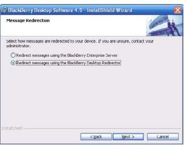 Configure the BlackBerry Desktop Manager installation to include Desktop Redirector.