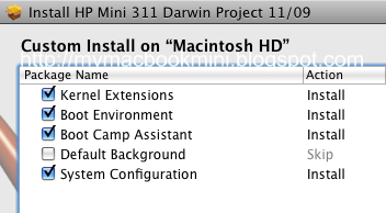 pkg installer%2011 09 Snow Leopard on HP Mini 311 (Non Dual Boot)