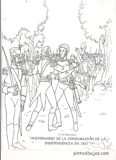 Consummation of the independence of Mexico coloring pages