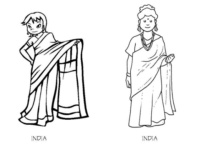 Outfit of India, coloring pages