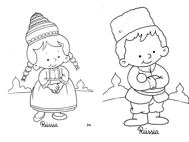 Outfit of Russia, free coloring pages