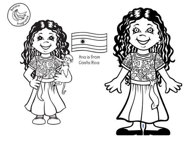 Outfit of Costa Rica, free coloring pages