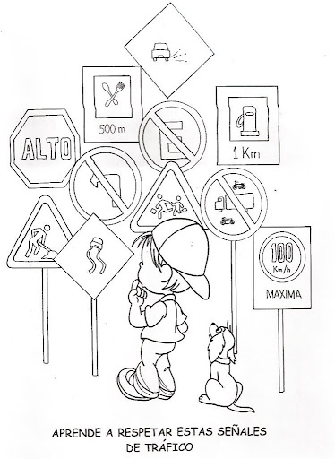 Traffic Signs - free coloring pages