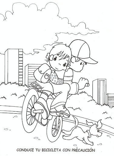 Kids on bikes - free coloring pages